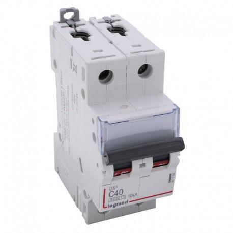 Legrand - Disjoncteur DX³6000 10kA - vis/vis - 2P 230V~ à 400V~ - 40A - courbe C - 2 modules - Réf : 407788