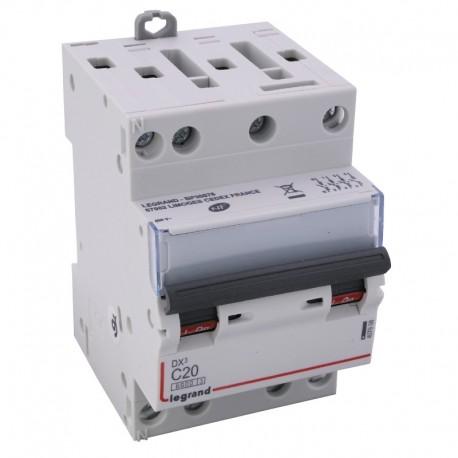 Legrand - Disjoncteur DX³ 6000 -vis/vis- 4P- 400V~-20A-10kA-courbeC-peigne HX³ opti 4P -3M - Réf : 407908