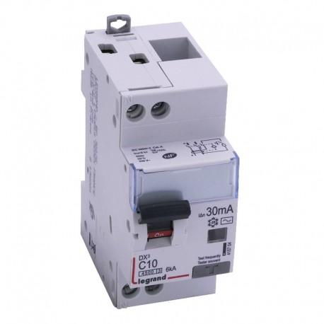 Legrand - Disjoncteur différentiel DX³4500 - vis/vis - U+N 230V~ - 10A typeAC 30mA - courbe C - 2 modules - Réf: 410704