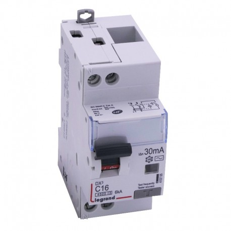 Legrand - Disjoncteur différentiel DX³4500 - vis/vis - U+N 230V~ - 16A typeAC 30mA - courbe C - 2 modules - Réf : 410705