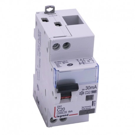 Legrand - Disjoncteur différentiel DX³4500 - vis/vis - U+N 230V~ - 20A typeF 30mA - courbe C - 2 modules - Réf : 410754
