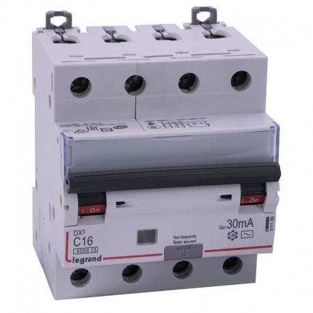 Legrand - Disjoncteur diff DX³ 6000 - vis/vis - 4P 400V~ - 16A - type AC 30mA - courbe C - 4 mod - Réf : 411186