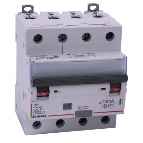 Legrand - Disjoncteur diff DX³ 6000 - vis/vis - 4P 400V~ - 25A - type AC 30mA - courbe C - 4 mod - Réf : 411188