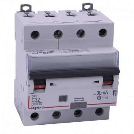 Legrand - Disjoncteur diff DX³ 6000 - vis/vis - 4P 400V~ - 32A - type AC 30mA - courbe C - 4 mod - Réf : 411189