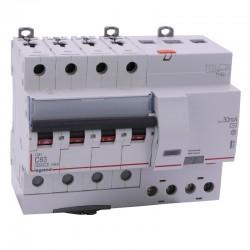 Legrand - Disjoncteur diff DX³ 6000 - vis/vis - 4P 400V~ - 63A - type AC 30mA - courbe C - 7 mod - Réf : 411192