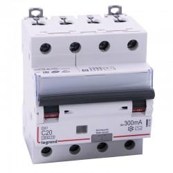 Legrand - Disjoncteur diff DX³ 6000 - vis/vis - 4P 400V~ - 20A - type AC 300mA - courbe C - 4 mod - Réf : 411206
