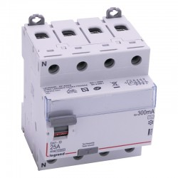 Legrand - Inter diff DX³-ID - vis/vis - 4P - 400V~ - 25A - type AC - 300mA - départ bas - 4M - Réf : 411664
