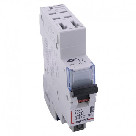 Legrand - Disjoncteur DNX³ 4500 - auto/auto - U+N 230V~ 20A - 4,5kA - courbe C - 1 module - Réf : 406784