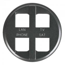 Legrand Céliane - Enjoliveur - Prise Quadruple pour Réseau Optimum Auto - Graphite - Réf : 067994