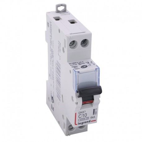 Legrand - Disjoncteur DNX³ 4500 - vis/vis - U+N 230V~ 10A - 4,5kA - courbe C - 1 module - Réf : 406773