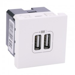 Legrand - Module de charge 2 USB typeA 2400mA Mosaic 2 modules 230V ou 5V - blanc - Réf : 077594