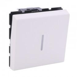 Legrand Mosaic - Poussoir inverseur 6A - à voyant LED (non fourni) - 2 modules - blanc - Réf: 077042