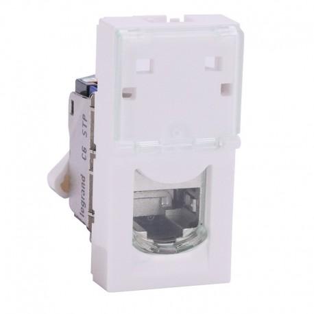 Legrand Mosaic - Prise RJ45 - Catégorie 6 - STP - blindage métal - 1 module - blanc - LCS - Réf : 076563