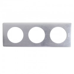 Legrand - Plaque Céliane - Métal - 3 postes - Aluminium - Réf : 068923