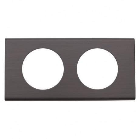 Legrand - Plaque Céliane - Matières - 2 postes - Black Nickel - Réf : 069032