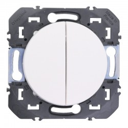 Legrand - Double interrupteur ou va-et-vient dooxie 10AX 250V~ finition blanc - Réf : 600002