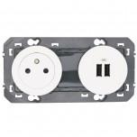 Legrand - Prise de courant 2P+T Surface + module de charge 2 USB TypeA dooxie 3A précâblés finition blanc - Réf : 600342