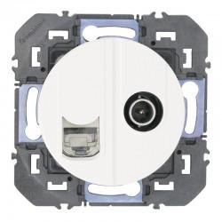 Legrand - Prise TV + RJ45 cat6 STP compacte dooxie finition blanc - Réf : 600352