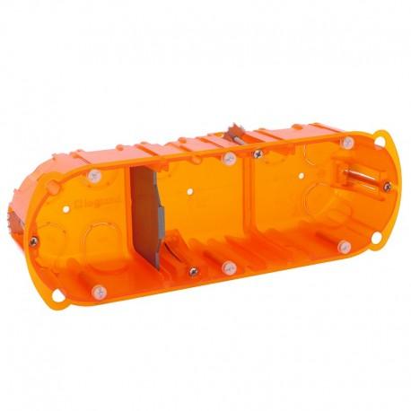 Legrand - Boîte multimatériaux Batibox - 3 postes - 6/8 mod - vert/horiz - prof. 50 - Réf : 080123