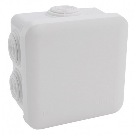 Legrand Plexo - Bte carrée 80x80x45 étanche blanc - embout (7) -IP55/IK07- 650°C - Réf : 092013