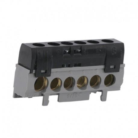 Legrand - Bornier de répartition IP 2X - phase - 1 connexion 10 à 35 mm² - noir - L 62 mm - Réf : 004816
