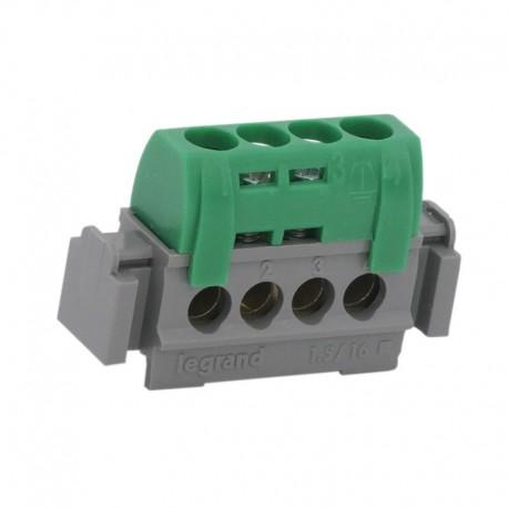 Legrand - Bornier de répartition IP 2X - terre - 4 connexions 1,5 à 16 mm²- vert - L 47 mm - Réf : 004830