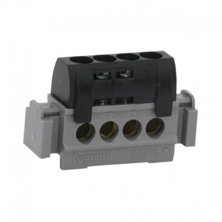 Legrand - Bornier de répartition IP 2X - phase - 4 connexions 1,5 à 16 mm²- noir- L 47 mm - Réf : 004850