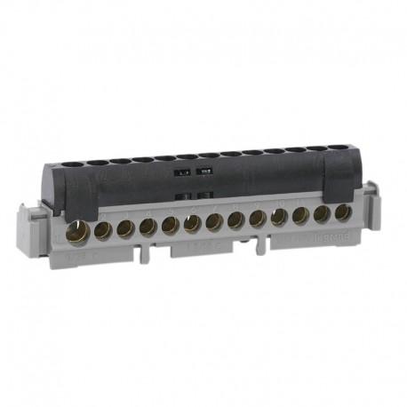 Legrand - Bornier de répartition IP 2X - Phase - 1 connexion 6 à 25 mm² - noir - L 113 mm - Réf : 04854