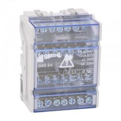 Legrand - Répartiteur mod monobloc - 4P - 100 A - 7 connexions - 4 modules - Réf : 004884