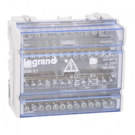 Legrand - Répartiteur modulaire monobloc tétrapolaire à bornes - 40A - 13 connexions par barreau - 6 modules - Réf : 004885