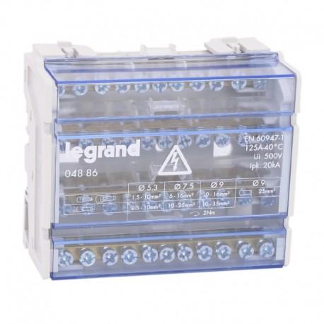 Legrand - Répartiteur modulaire monobloc tétrapolaire à bornes - 125A - 11 connexions par barreau - 6 modules - Réf : 004886