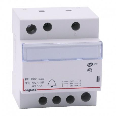 Legrand - Transformateur Sonnerie 230 / 24-12 V Modulaire - Réf : 413093