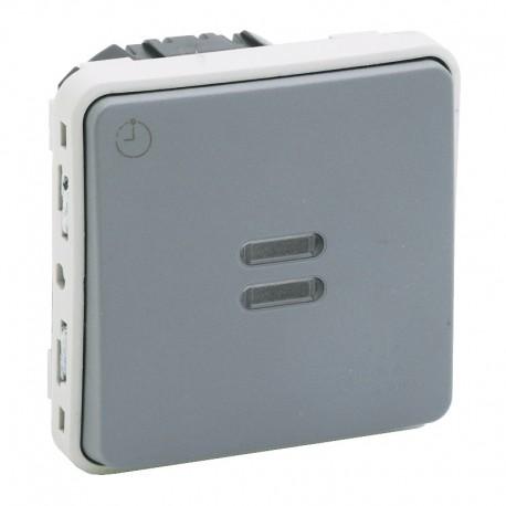 Legrand - Interrupteur temporisé lumineux Plexo composable IP55 230V 50Hz ou 60Hz - gris - Réf : 069504