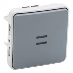 Legrand - Interrupteur ou va-et-vient témoin câblage phase distribuée Plexo composable IP55 10AX 250V - gris - Réf : 069512
