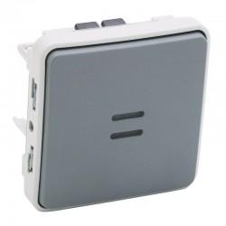 Legrand - Interrupteur ou va-et-vient témoin câblage existant Plexo composable IP55 10AX 250V - gris - Réf : 069514