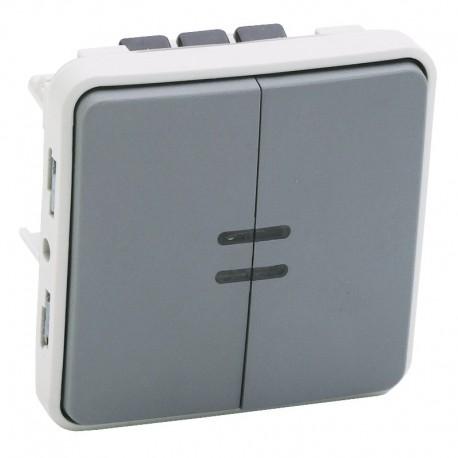 Legrand - Interrupteur lumineux + poussoir inverseur NO+NF lumineux Plexo composable IP55 10AX 250V - gris- Réf : 069519