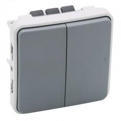 Legrand - Double interrupteur ou va-et-vient Plexo composable IP55 10AX 250V - gris - Réf : 069525