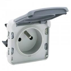 Legrand - Prise de courant 2P+T avec éclips de protection Plexo composable IP55 16A 250V - gris - Réf : 069551