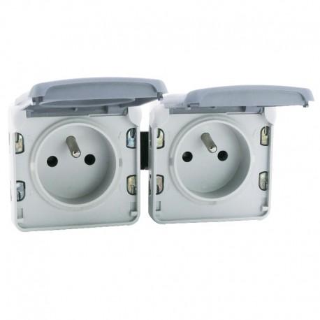 Legrand - Double prise de courant 2P+T précâblées à l'horizontale Plexo composable IP55 16A 250V - gris - Réf : 069562
