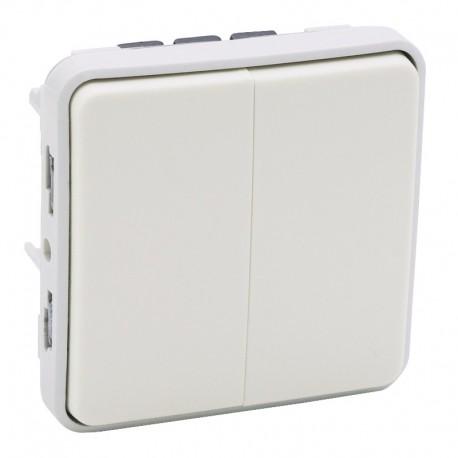Legrand - Double interrupteur ou va-et-vient Plexo composable IP55 10AX 250V - blanc - Réf : 069625