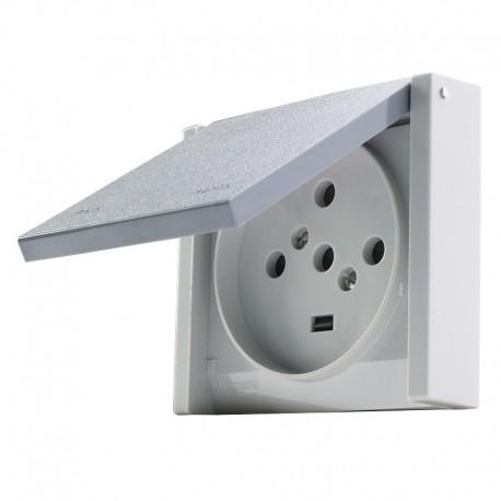 Legrand -Prise de courant 3P+N+T 20A à fixer sur boîte Ø67mm Plexo complet IP44 encastré - gris - Réf : 055708