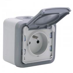 Legrand - Prise 2P+T avec éclips de protection 16A Plexo complet IP55 saillie - gris - Réf : 069731