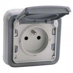 Legrand - Prise de courant 2P+T avec éclips de protection 16A Plexo complet IP55 encastré - gris- Réf : 069831