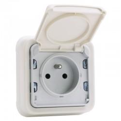 Legrand - Prise de courant 2P+T avec éclips de protection 16A Plexo complet IP55 encastré - blanc - Réf : 069870