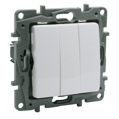 Legrand - Interrupteur triple Niloé - 10 AX - 250 V~ - Pur - Réf : 66450