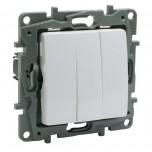 Legrand - Interrupteur triple Niloé - 10 AX - 250 V~ - Pur - Réf : 664503