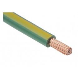 Fil H07 V-K (Souple) 10 mm² - Coupe au mètre - Vert/Jaune - Réf : 017805/1