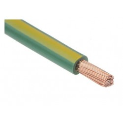 Fil H07 V-K (Souple) 25 mm² - Coupe au mètre -Vert/Jaune - Réf : 019020/1
