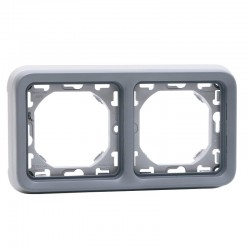 Legrand - Support plaque 2 postes horizontaux Plexo composable IP55 - gris - Réf : 069683
