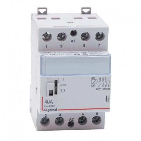 Legrand - Contacteur de puissance bobine 230 V~ - 4P - 250 V~ - 40 A - 4F - 3 modules - Réf : 412553